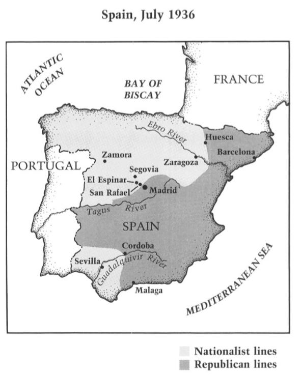 Map Of Spain Zamora.Map Of Spain In 1936